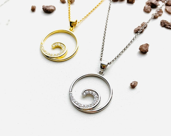 CZ Ocean Wave Charm Necklace For Women - Minimalist Gold Necklace - Dainty Sea Wave Silver Necklace To Gift For Her - Ocean Wave Jewelry