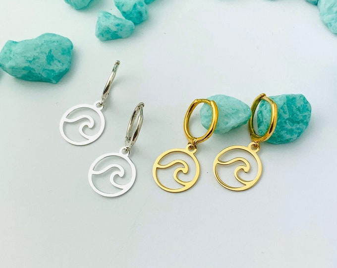 Wave Hoop Earrings, Hoop Earrings With Charm, Gold Hoop Earrings, Wave Earrings, Wave Jewelry, Tiny Hoop Earrings, Dainty Gold Earrings