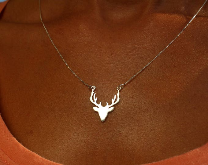Sterling Silver Deer Charm Necklace For Women - Gold Deer Jewelry To Gift For Her - Minimalist Deer Necklace