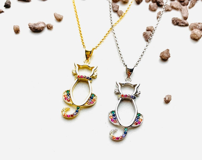 CZ Cat Charm Necklace For Women - Dainty Silver Necklace - Minimalist Gold Necklace - Silver Animal Jewelry To Gift For Her
