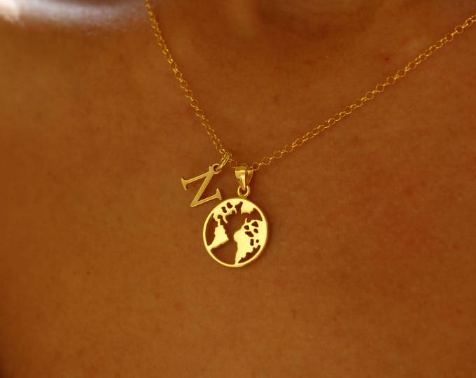 Collar Mapamundi Con Iniciales - World Necklace With Initials