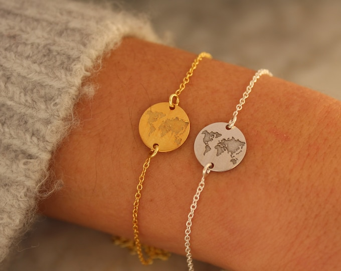 Gold World Map Charm Bracelet For Women - Sterling Silver Traveler Jewelry - Minimalist Globe Bracelet