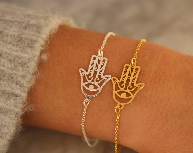 Gold Hamsa Bracelet For Women - Dainty Silver Hamsa Bracelet - Minimalist Hamsa Jewelry To Gift For Her