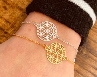 Flower Of Life Bracelet For Women - Dainty Gold Yoga Bracelet - Minimalist Silver Mandala Bracelet - Jewelry To Gift For Her - Charm