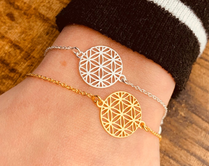 Flower Of Life Bracelet For Women - Dainty Gold Yoga Bracelet - Minimalist Silver Mandala Bracelet - Jewelry To Gift For Her - Charm