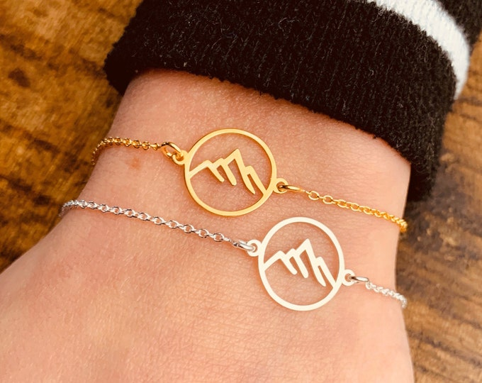 Mountain Bracelet For Women - Dainty Gold Bracelet - Minimalist Silver Bracelet - Mountain Range Jewelry - Gift For Her - Charm Bracelet