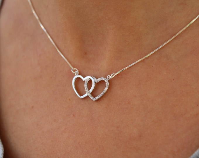 Silver Heart Necklace For Women - Dainty Heart Jewelry - Love Necklace Mom Gift For Her - Tiny Silver Necklace