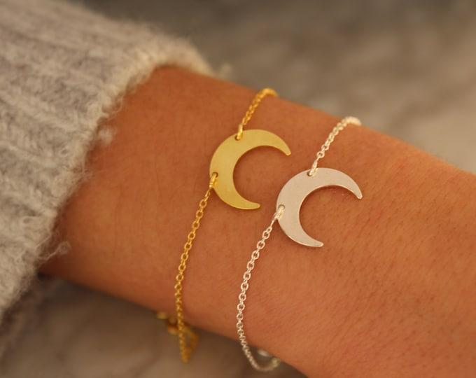 Crescent Moon Bracelet, Dainty Bracelet, Moon Bracelet, Bracelets For Women, Moon Jewelry,  Silver Bracelet, Gold Bracelet, Charm Bracelet