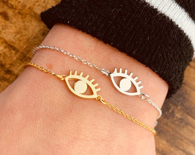 Gold Evil Eye Bracelet For Women - Dainty Gold Bracelet - Minimalist Silver Bracelet - Evil Eye Jewelry To Gift For Her - Charm Bracelet