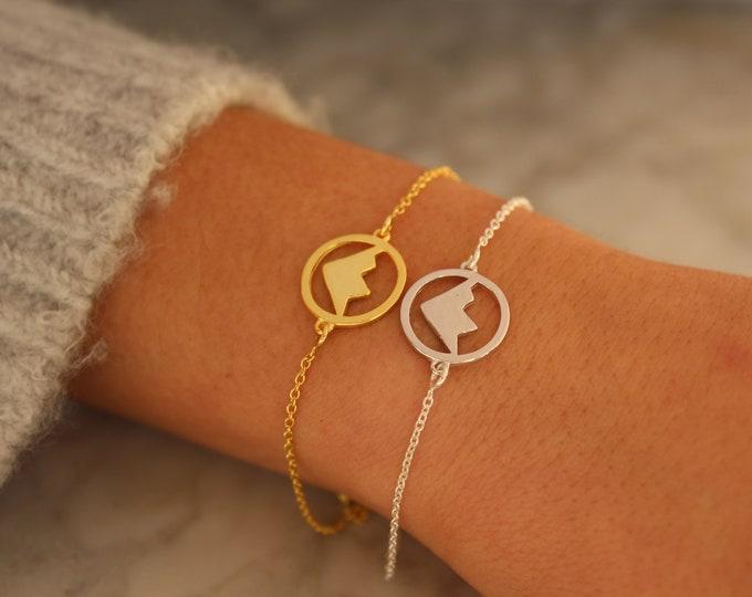 Sterling Silver Mountain Charm Bracelet For Women - Minimalist Gold Mountain Jewelry - Dainty Mountain Range Bracelet