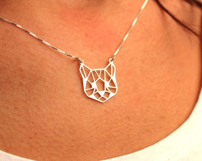 Cat Necklace, Necklaces For Women, Cat Jewelry, Silver Cat Necklace, Cat Charm Necklace, Dainty Necklace, Gift For Her, Geometric Necklace