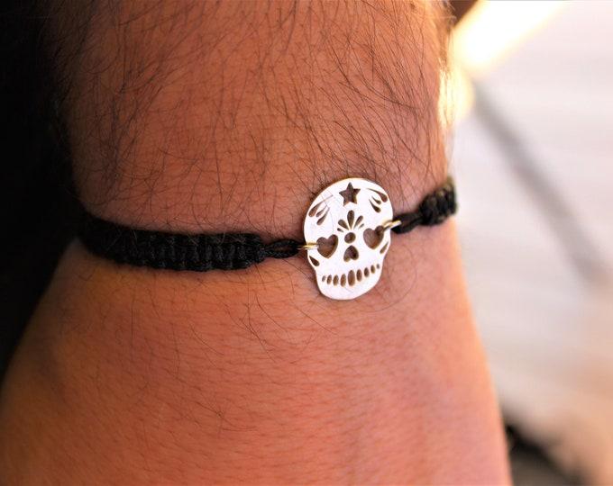 Skull Bracelet, Mens Bracelet, Bracelets For Men, Charm Bracelet, Bracelet Men, Skull Jewelry, Mexican Skull Bracelet, Friendship Bracelet