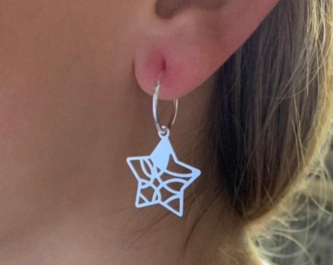 Star Earrings, Hoop Earrings, Dainty Earrings, Charm Earrings, Earrings For Women, Silver Earrings, Silver Hoop Earrings