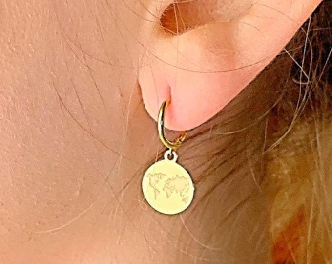 World Hoop Earrings, Charm Hoop Earrings, Gold Hoop Earrings, World Earrings, World Jewelry, Tiny Hoop Earrings, Dainty Gold Earrings