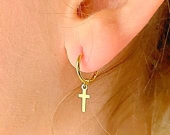 Cross Hoop Earrings, Hoop Earrings With Charm, Gold Hoop Earrings, Cross Earrings, Cross Jewelry, Tiny Hoop Earrings, Dainty Gold Earrings