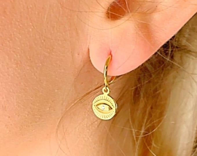 Evil Eye Earrings, Hoop Earrings With Charm, Gold Hoop Earrings, Dainty Earrings, Evil Eye Jewelry, Hoop Earrings, Minimalist Hoop Earrings
