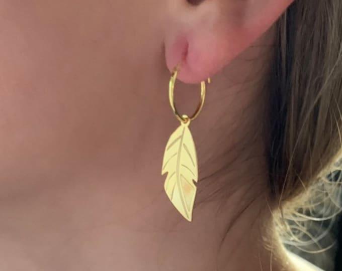 Feather Earrings, Hoop Earrings, Dainty Earrings, Charm Earrings, Earrings Hoops, Earrings For Women, Silver Earrings, Silver Hoop Earrings