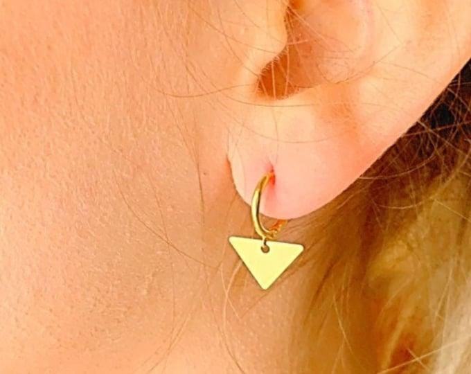 Triangle Hoop Earrings, Gold Hoop Earrings, Triangle Earrings, Triangle Jewelry, Charm Hoop Earrings, Tiny Hoop Earrings, Dainty Earrings