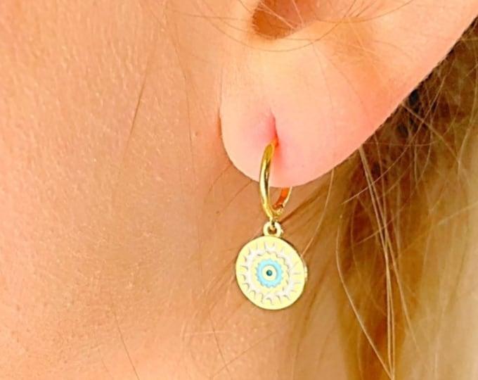 Evil Eye Hoop Earrings, Gold Hoop Earrings, Evil Eye Jewelry, Charm Hoop Earrings, Tiny Hoop Earrings, Dainty Hoop Earrings, Minimalist