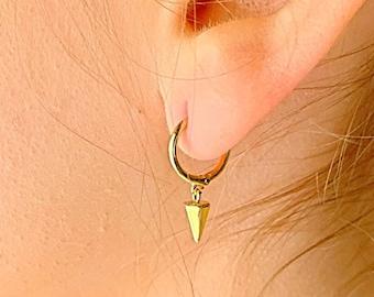 Spike Hoop Earrings, Gold Hoop Earrings, Spike Earrings, Spike Jewelry, Hoop Earrings With Charm, Hoop Earrings, Minimalist Hoop Earrings