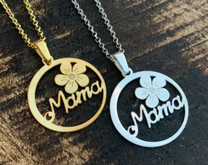 Gold Mama Necklace For women - Pendant Gift For Mom - Dainty Mama Jewelry