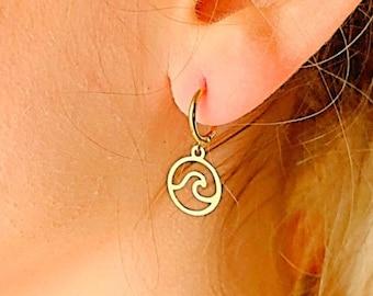 Wave Hoop Earrings, Hoop Earrings With Charm, Gold Hoop Earrings, Wave Earrings, Wave Jewelry, Tiny Hoop Earrings, Dainty Gold Earrings