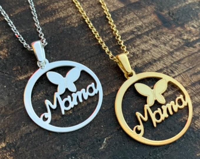 Gold Mama Charm Necklace For women - Dainty Mama Jewelry For Her