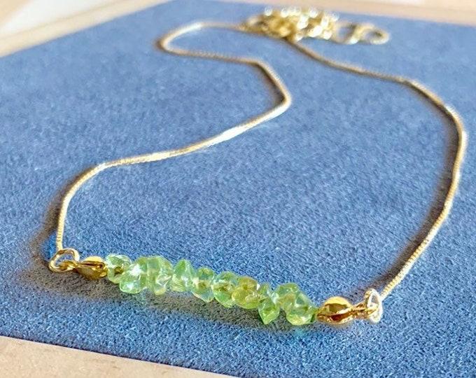 Raw Stone Necklace, Olivine Necklace, Necklace For Women, Raw Stone Jewelry, Beaded Necklace, Olivine Jewelry, Beaded Jewelry