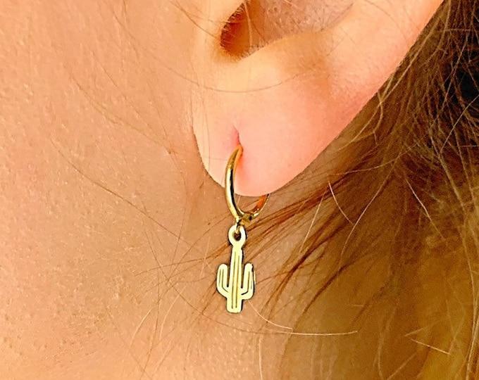 Cactus Hoop Earrings, Gold Hoop Earrings, Cactus Earrings, Cactus Jewelry, Charm Hoop Earrings, Tiny Hoop Earrings, Dainty Gold Earrings