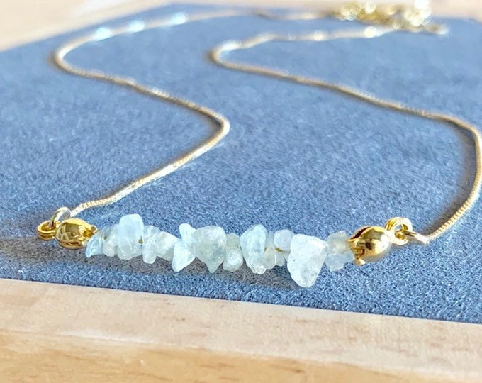 Raw Stone Necklace, Aquamarine Necklace, Necklace For Women, Raw Stone Jewelry, Beaded Necklace, Aquamarine Jewelry, Beaded Jewelry