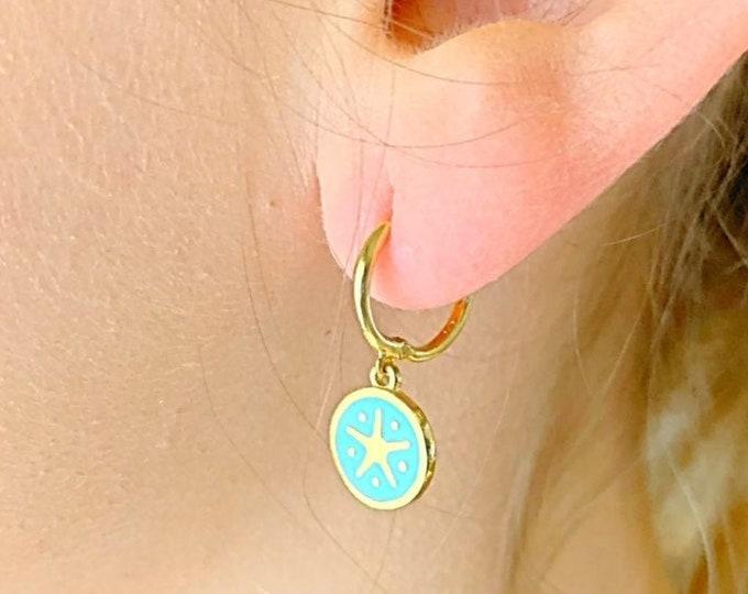 Starfish Hoop Earrings, Gold Hoop Earrings, Starfish Jewelry, Charm Hoop Earrings, Tiny Hoop Earrings, Dainty Hoop Earrings, Minimalist