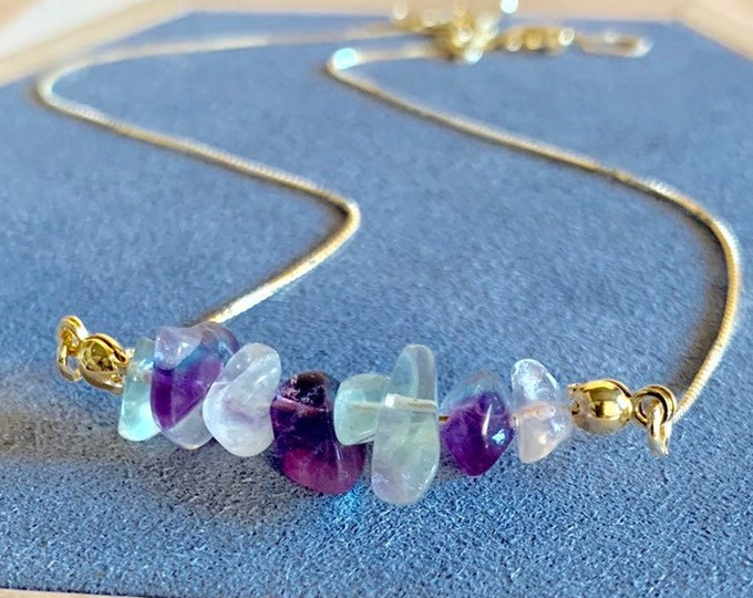 Raw Stone Necklace, Fluorite Necklace, Necklace For Women, Raw Stone Jewelry, Beaded Necklace, Fluorite Jewelry, Beaded Jewelry