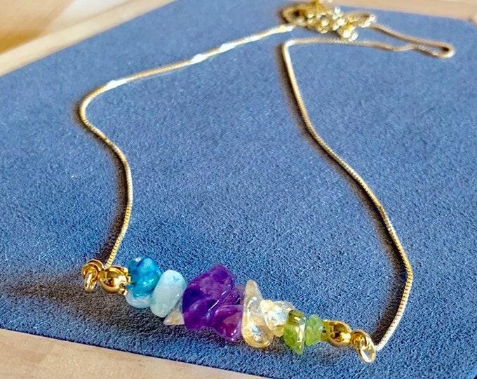 Raw Stone Necklace, Tourmaline Necklace, Necklace For Women, Raw Stone Jewelry, Beaded Necklace, Tourmaline Jewelry, Crystal Jewelry
