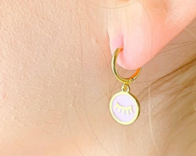 Tabs Hoop Earrings, Gold Hoop Earrings, Tabs  Earrings, Tabs Jewelry, Charm Hoop Earrings, Tiny Hoop Earrings, Dainty Hoop Earrings