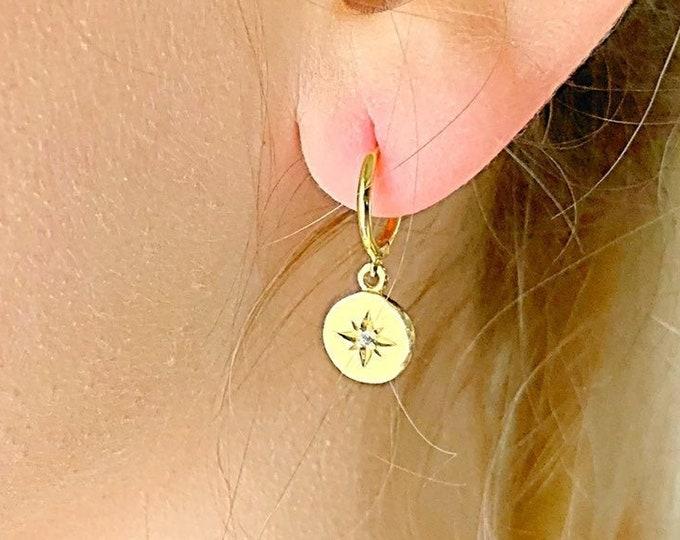 Gold Hoop Earrings, Star Earrings, Star Jewelry, Hoop Earrings With Charm, Hoop Earrings, Dainty Hoop Earrings, Minimalist Hoop Earrings