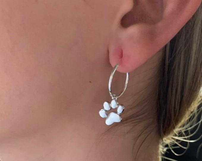 Dog Paw Print Earrings, Hoop Earrings, Dainty Earrings, Hoop Earrings With Charm, Earrings For Women, Silver Earrings, Silver Hoop Earrings