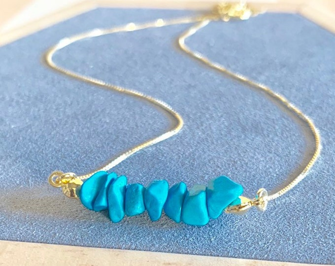 Raw Stone Necklace, Turquoise Necklace, Necklace For Women, Raw Stone Jewelry, Beaded Necklace, Turquoise Jewelry, Beaded Jewelry
