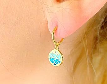 Wave Hoop Earrings, Gold Hoop Earrings, Surfer Earrings, Wave Jewelry, Hoop Earrings With Charm, Tiny Hoop Earrings, Dainty Hoop Earrings