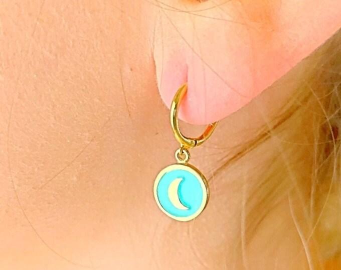 Moon Hoop Earrings, Gold Hoop Earrings, Moon Earrings, Moon Jewelry, Tiny Hoop Earrings, Dainty Hoop Earrings, Hoop Earrings With Charm