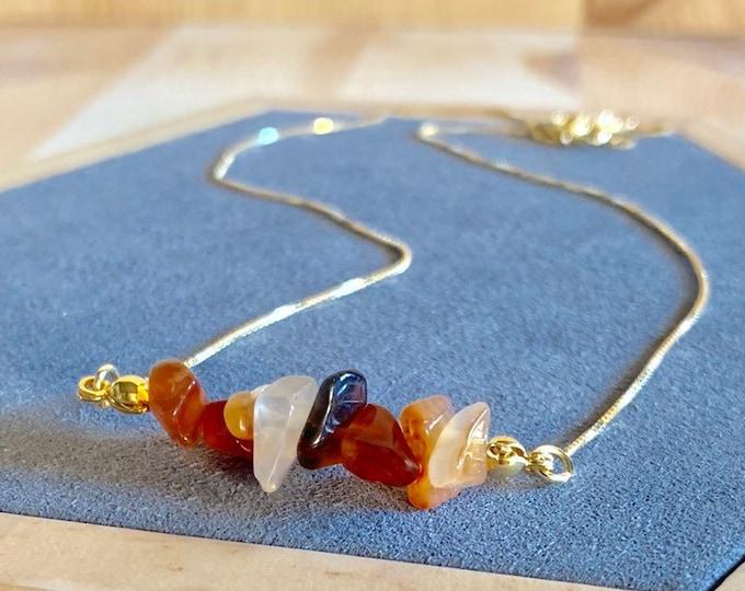 Raw Stone Necklace, Carnelian Necklace, Necklace For Women, Raw Stone Jewelry, Beaded Necklace, Carnelian Jewelry, Beaded Jewelry