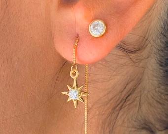 Gold Charm Earrings, Star Earrings, Threader Earrings, Star Jewelry, Long Chain Earrings, Dainty Charm Earrings,  Tiny Gold Earrings,