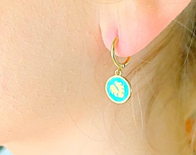 Monstera Leaf Hoop Earrings, Gold Hoop Earrings, Gold Earrings, Monstera Jewelry, Charm Hoop Earrings, Tiny Hoop Earrings, Dainty Earrings