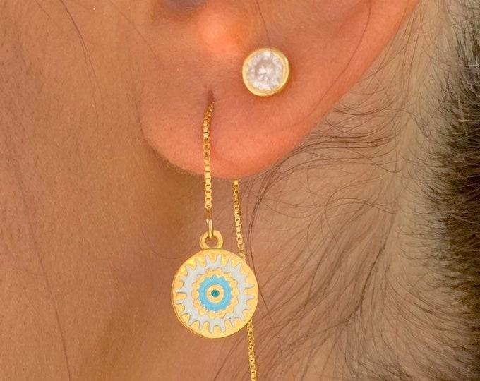 Evil Eye Gold Earrings, Gold Charm Earrings, Dainty Gold Earrings, Evil Eye Earrings, Evil Eye Jewelry, Long Chain Earrings, Minimalist