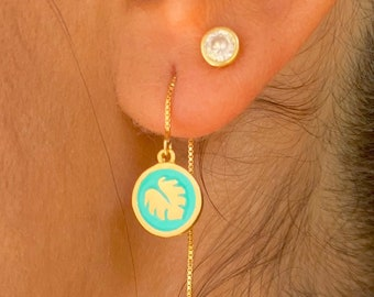 Monstera Leaf Earrings, Dainty Gold Earrings, Gold Charm Earrings, Threader Earrings, Monstera Jewelry, Long Chain Earrings, Minimalist