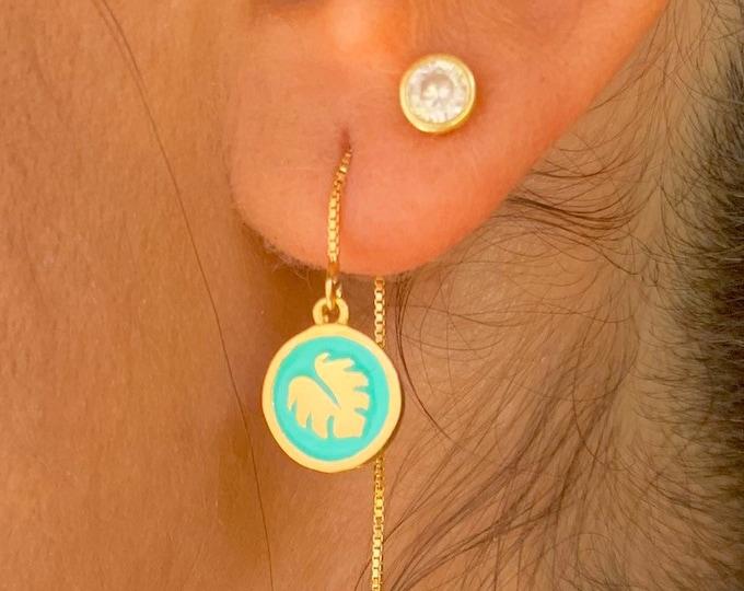 Monstera Leaf Earrings, Dainty Gold Earrings, Gold Charm Earrings, Threader Earrings, Monstera Jewelry, Long Chain Earrings, Minimalist