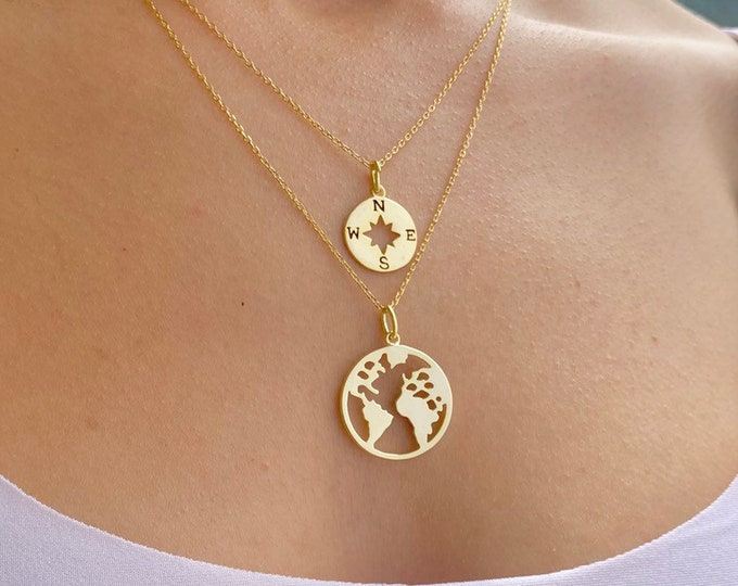 Gold Layered Necklace For Women - Dainty Silver World Map With Compass Layering Charm Necklace - Minimalist Traveler Jewelry To Gift For Her