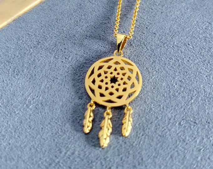 Gold Dream Catcher Charm Necklace, Necklaces For Women, Dream Catcher Necklace, Dream Catcher Jewelry, Dainty Necklace, Chain Necklace
