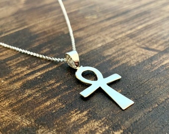 Key Of Life Necklace, Necklace For Women, Ankh Key Of Life Necklace, Egyptian Necklace, Silver Necklace, Key Necklace, Charm Necklace