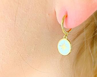 Star Hoop Earrings, Gold Hoop Earrings, Star Earrings, Star Jewelry, Charm Hoop Earrings, Tiny Hoop Earrings, Dainty Hoop Earrings