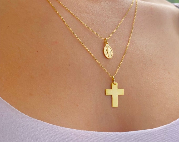 Gold Layering Necklace For Women - Dainty Silver Cross Layered Charm Necklace - Minimalist Virgin Mary Layered Jewelry To Gift For Her